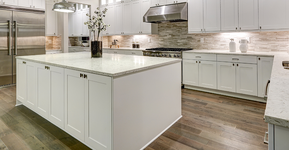 A clean, large kitchen island