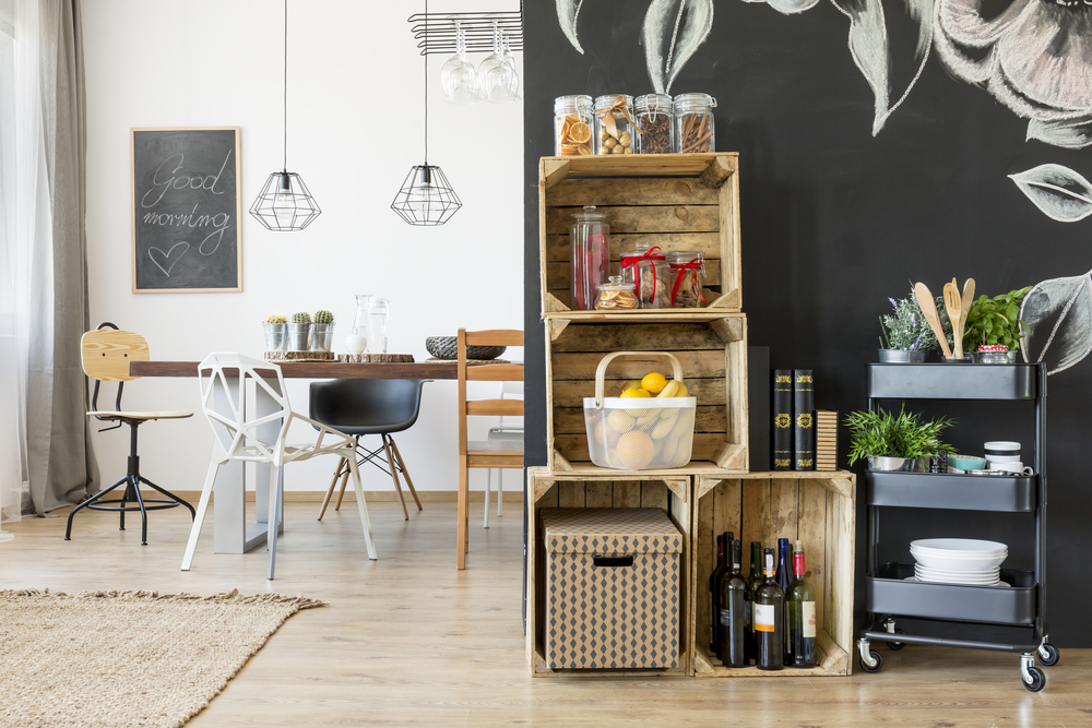 Wine crates doubling up as storage