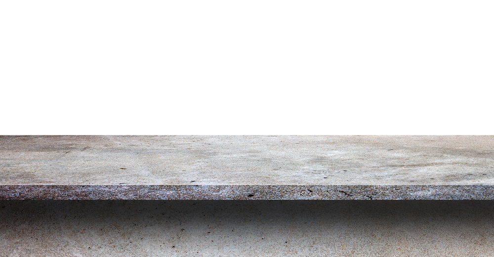 Concrete countertop against white background