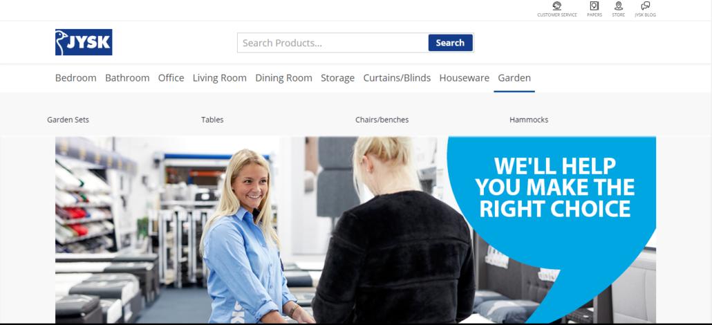 JYSK homepage