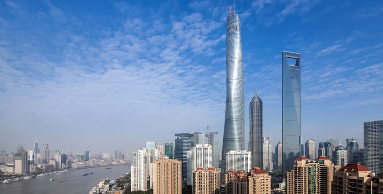 The Shanghai Tower dominating the Beijing cityscape